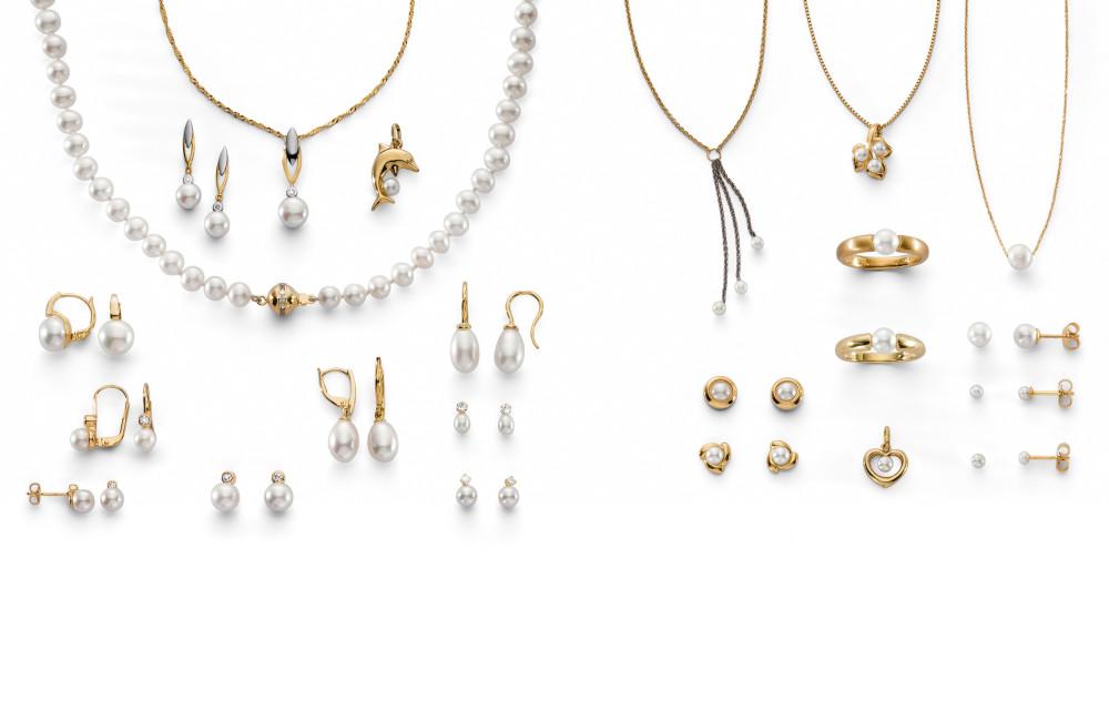 14571 Gelbgold - 375/750 mit Perlen & Zirkonia
