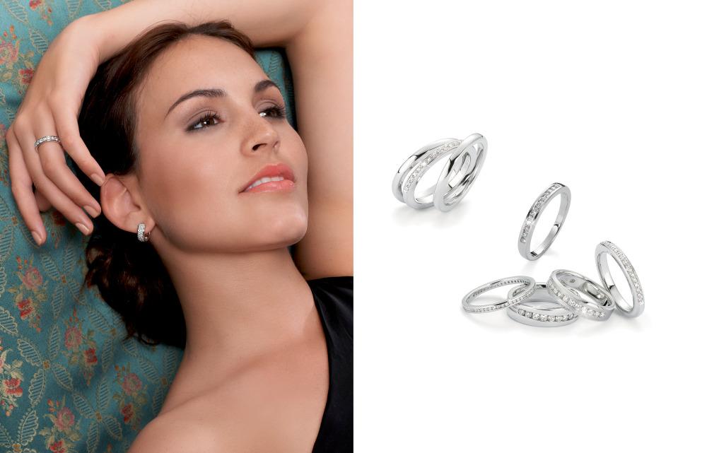 16133 750/18 K Weissgold Memoryringe Diamant