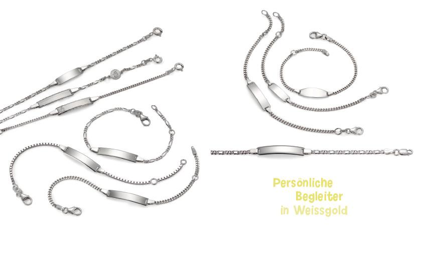 17986 Weissgold 750/375 K Gravurarmband Taufgeschenk