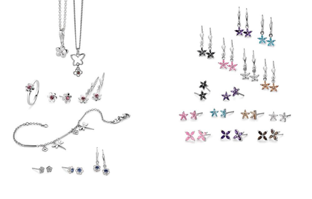 18057 Silber Blumen Zirkonia Farbsteine