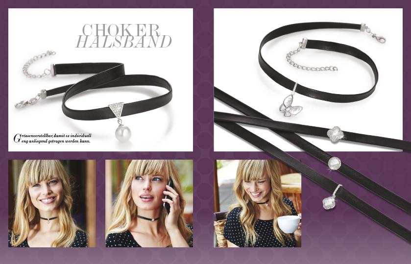 21887 Silber / Leder Choker Halsband