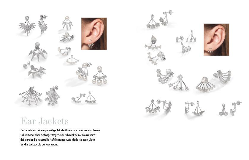 21897 Silber Zirkonia Ear Jackets Ohrschmuck