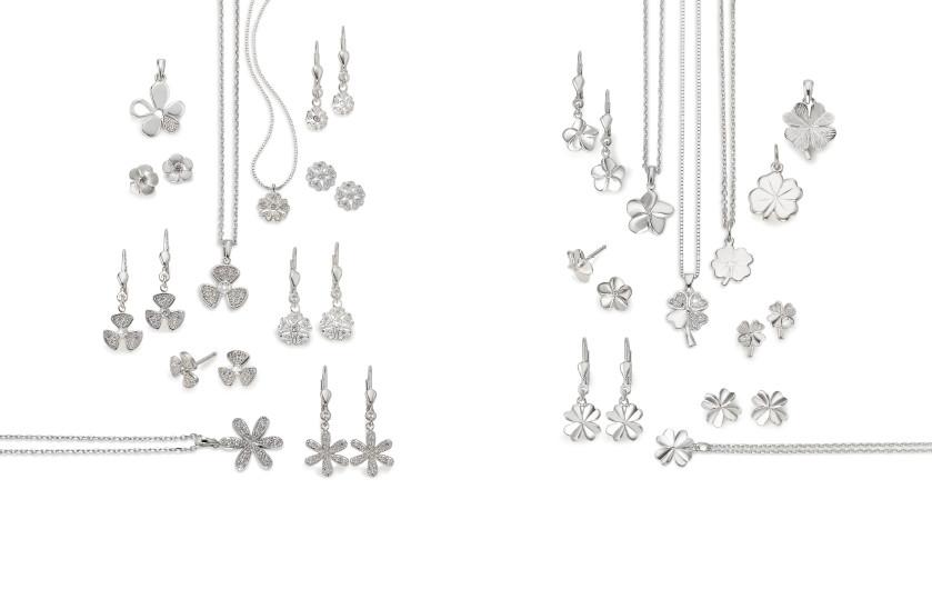 22537 Silber Blumen Kleeblatt
