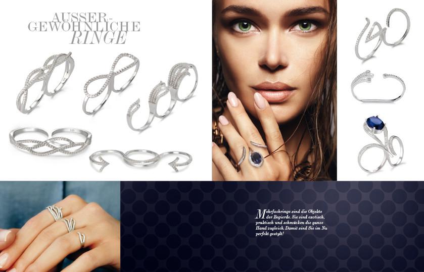 21944 Silber Zirkonia Zwei-Finger Ringe
